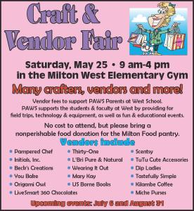PAWS - Craft Fair and Direct Seller's Expo @ Milton West Elementary School GYM