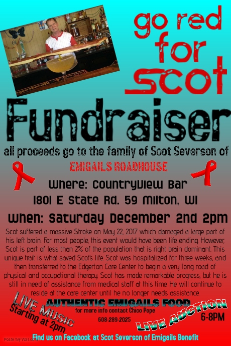 """""""Go Red for Scot"""" Scot Severson Fundraiser (Owner of Emigails) @ Countryview Bar & Grill 